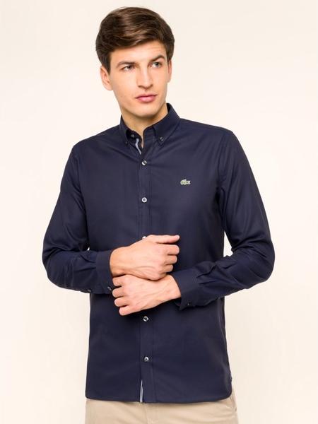 Granatowa koszula Lacoste z kołnierzykiem button down z długim rękawem