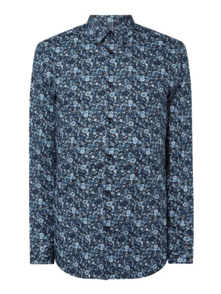 Granatowa koszula Selected Homme z długim rękawem z klasycznym kołnierzykiem z bawełny