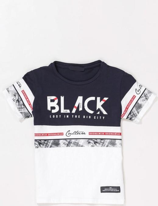 Granatowa koszulka dziecięca born2be z krótkim rękawem