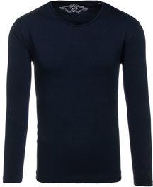 Granatowa koszulka z długim rękawem denley z bawełny w stylu casual