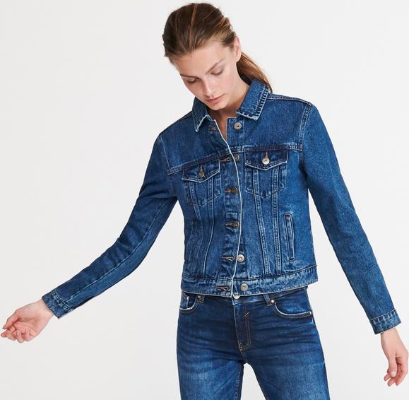 Granatowa kurtka Reserved z jeansu krótka