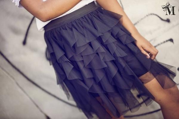 Granatowa spódniczka dziewczęca Mała Mi z tiulu