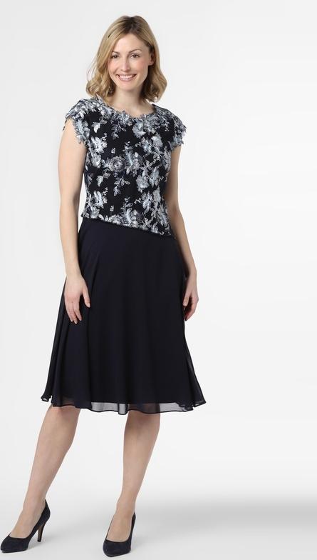 Granatowa sukienka Ambiance z okrągłym dekoltem z szyfonu z krótkim rękawem