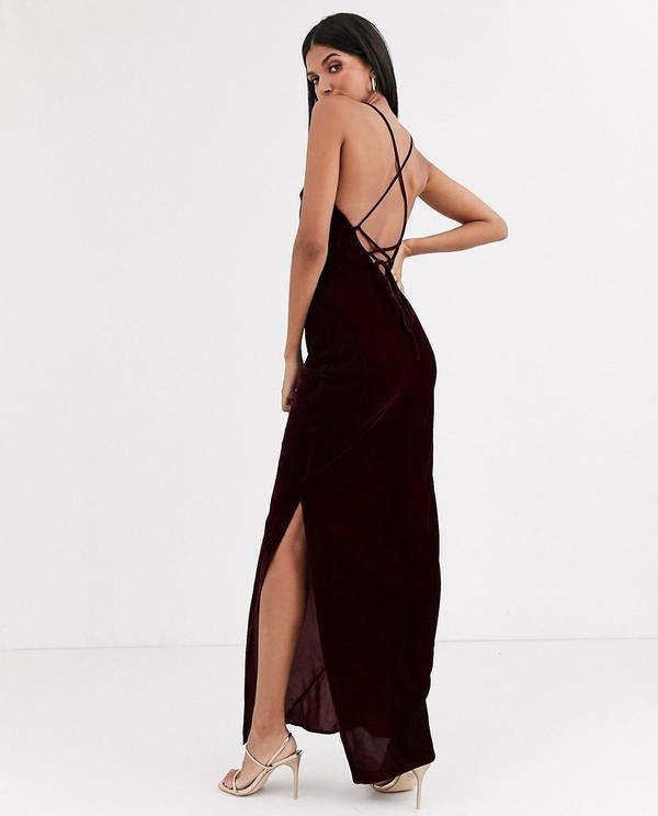 Granatowa sukienka Asos na ramiączkach
