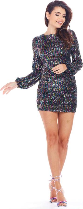 Granatowa sukienka Awama mini z długim rękawem