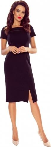 Granatowa sukienka Bergamo z krótkim rękawem
