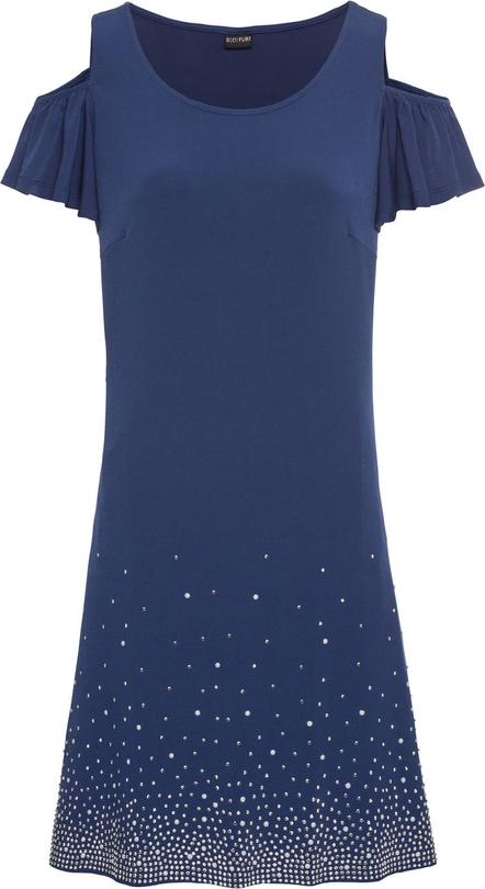 c91106b3 Granatowa sukienka bonprix BODYFLIRT z okrągłym dekoltem mini