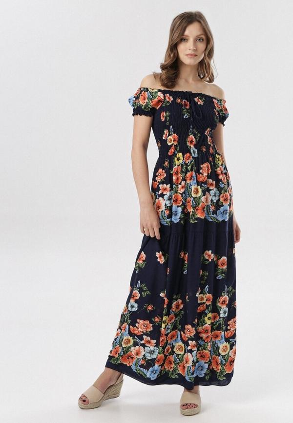 Granatowa sukienka born2be w stylu boho