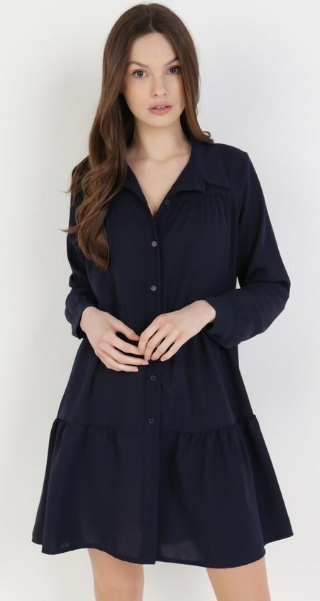Granatowa sukienka born2be z dekoltem w kształcie litery v z długim rękawem