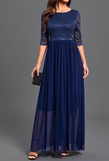 Granatowa sukienka Cikelly z okrągłym dekoltem maxi z długim rękawem