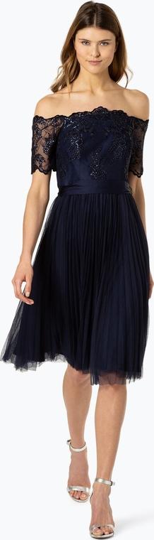 Granatowa sukienka Coast hiszpanka z odkrytymi ramionami w stylu glamour