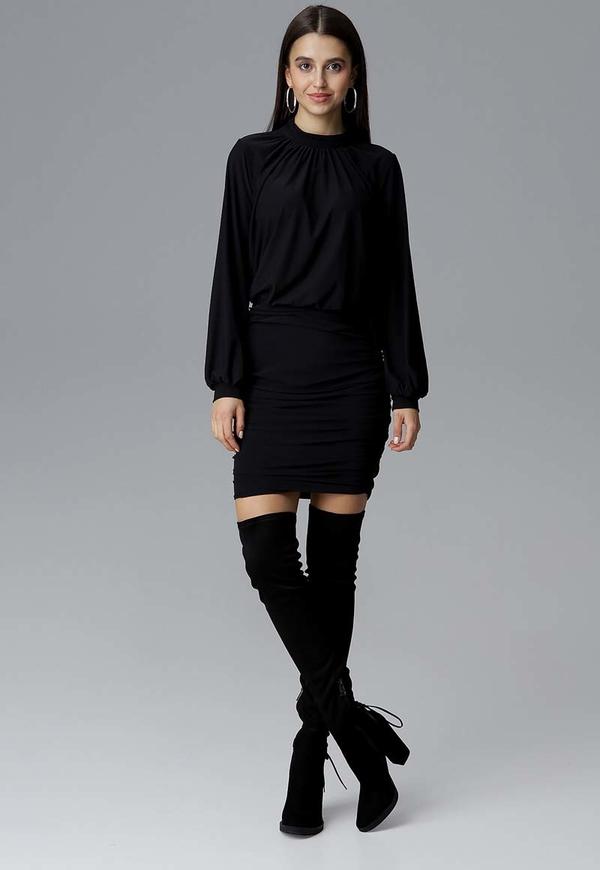 Granatowa sukienka Figl z długim rękawem mini