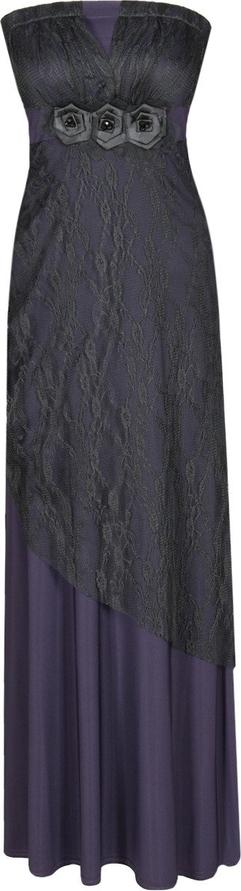 Granatowa sukienka Fokus maxi bez rękawów rozkloszowana
