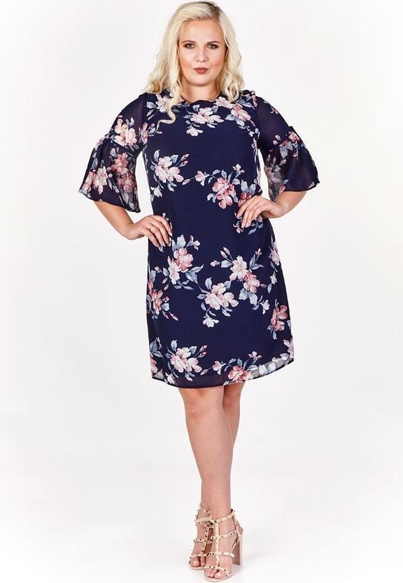 Granatowa sukienka Fokus mini z żakardu
