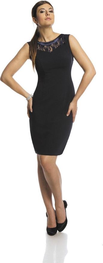 Granatowa sukienka Fokus z satyny bez rękawów midi