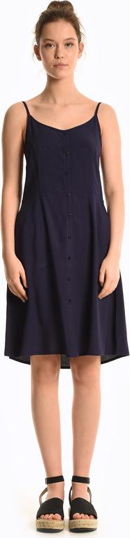 Granatowa sukienka Gate z odkrytymi ramionami w stylu casual na ramiączkach