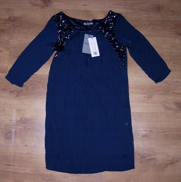 Granatowa sukienka Inna mini z długim rękawem