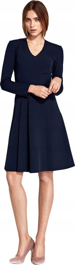Granatowa sukienka Inna z długim rękawem