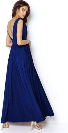 Granatowa sukienka Ivon z dekoltem w kształcie litery v maxi