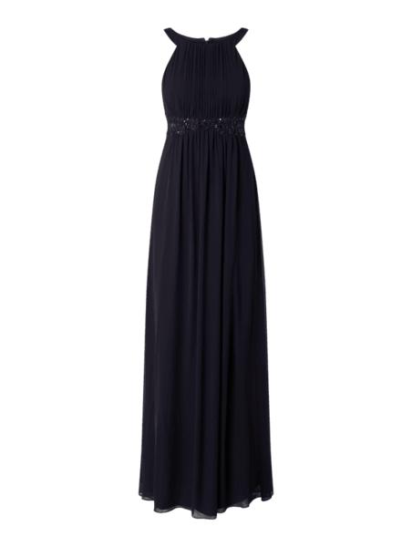 Granatowa sukienka Jake*s Cocktail bez rękawów z szyfonu z okrągłym dekoltem