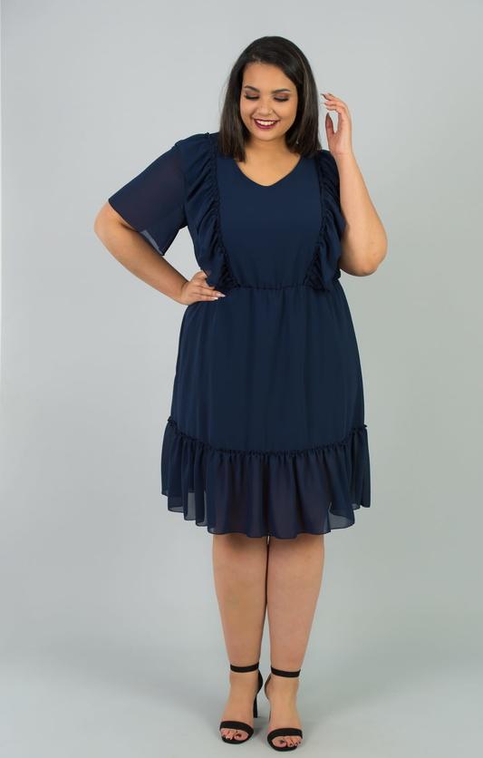 Granatowa sukienka KARKO dla puszystych midi