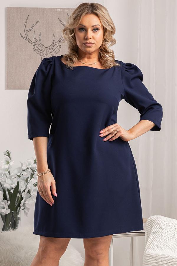 Granatowa sukienka KARKO z tkaniny trapezowa