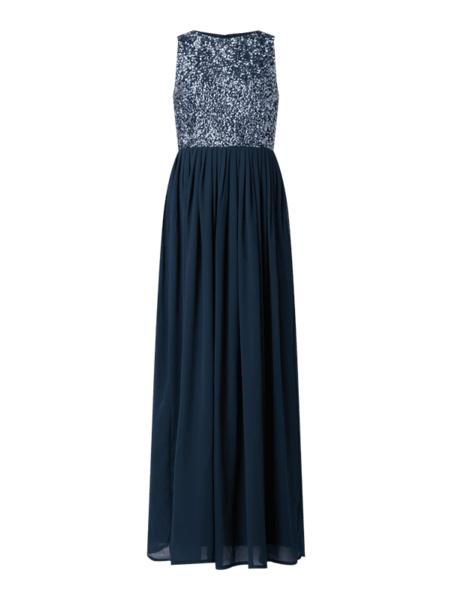 Granatowa sukienka Lace & Beads w stylu glamour bez rękawów z szyfonu