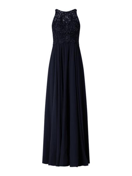 Granatowa sukienka Laona z szyfonu maxi bez rękawów