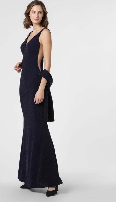 Granatowa sukienka Luxuar Fashion z dekoltem w kształcie litery v na ramiączkach