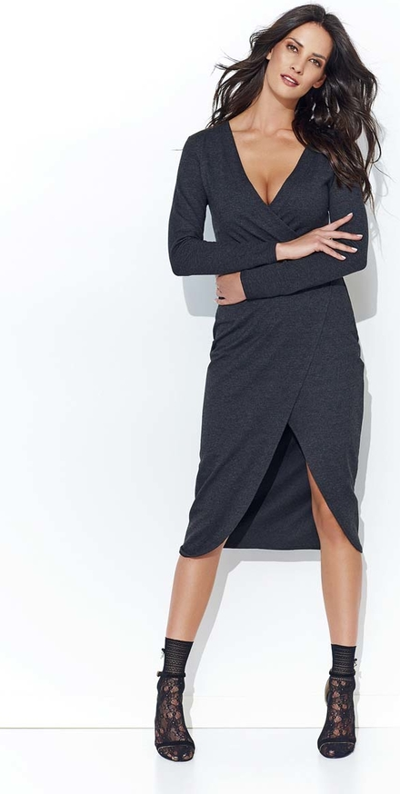 Granatowa sukienka Makadamia asymetryczna z bawełny w stylu casual