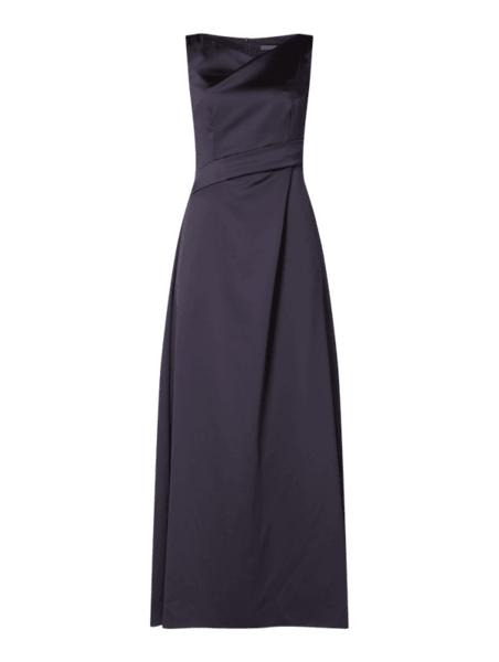 Granatowa sukienka Marie Noir asymetryczna bez rękawów maxi