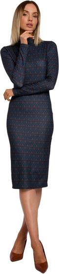 Granatowa sukienka MOE midi dopasowana z długim rękawem