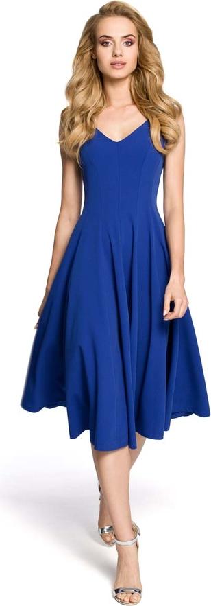 Granatowa sukienka MOE midi z dekoltem w kształcie litery v