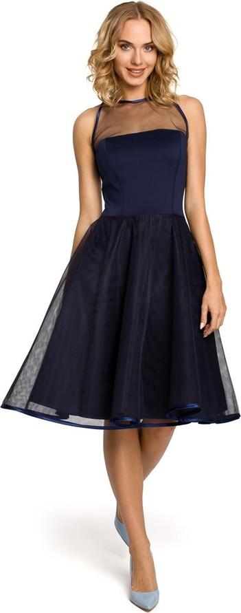 Granatowa sukienka MOE z okrągłym dekoltem bez rękawów z tiulu