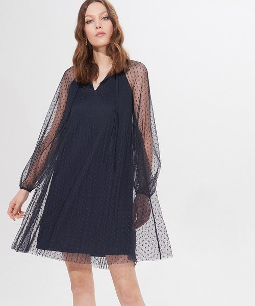 Granatowa sukienka Mohito mini z długim rękawem