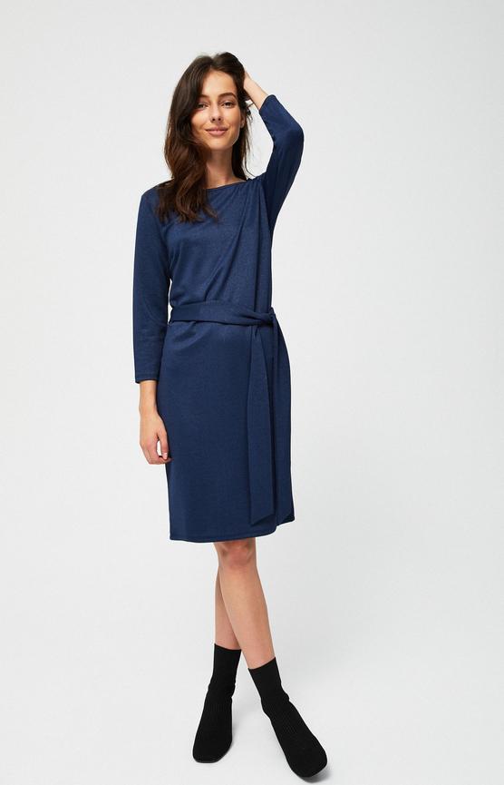 Granatowa sukienka Moodo z długim rękawem