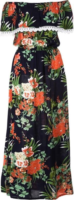 Granatowa sukienka Multu z krótkim rękawem