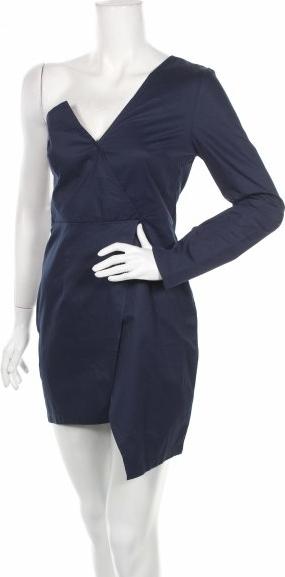 Granatowa sukienka Nasty Gal z dekoltem w kształcie litery v z długim rękawem