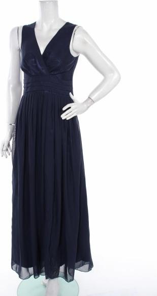 Granatowa sukienka NUMOCO z dekoltem w kształcie litery v maxi