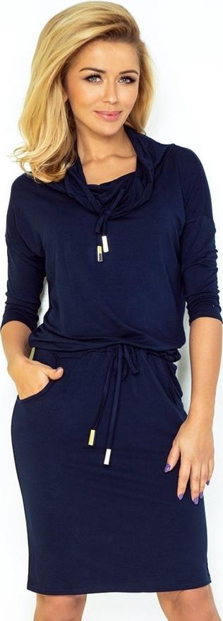 Granatowa sukienka NUMOCO z golfem z tkaniny sportowa