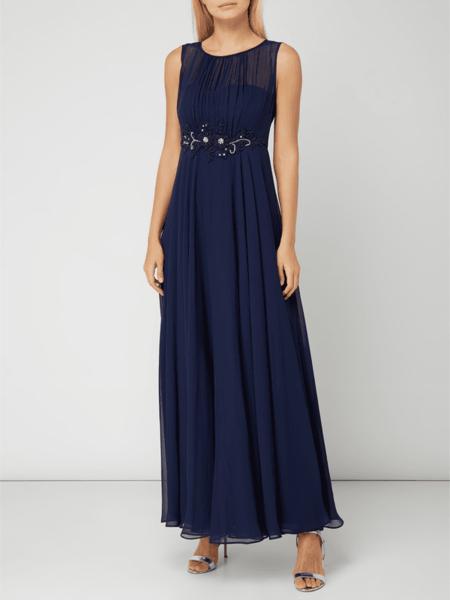 Granatowa sukienka Paradi w stylu glamour rozkloszowana z szyfonu