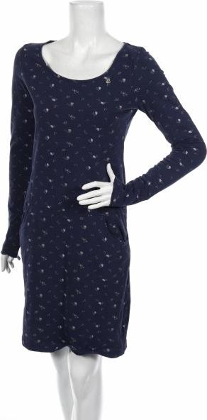 Granatowa sukienka Ragwear mini z okrągłym dekoltem z długim rękawem