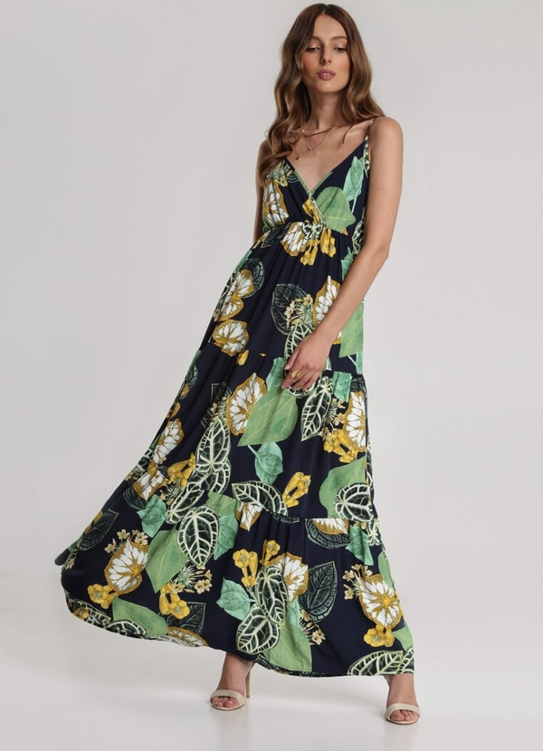 Granatowa sukienka Renee z dekoltem w kształcie litery v w stylu boho na ramiączkach