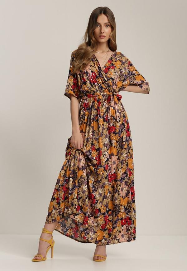 Granatowa sukienka Renee z dekoltem w kształcie litery v z długim rękawem w stylu boho