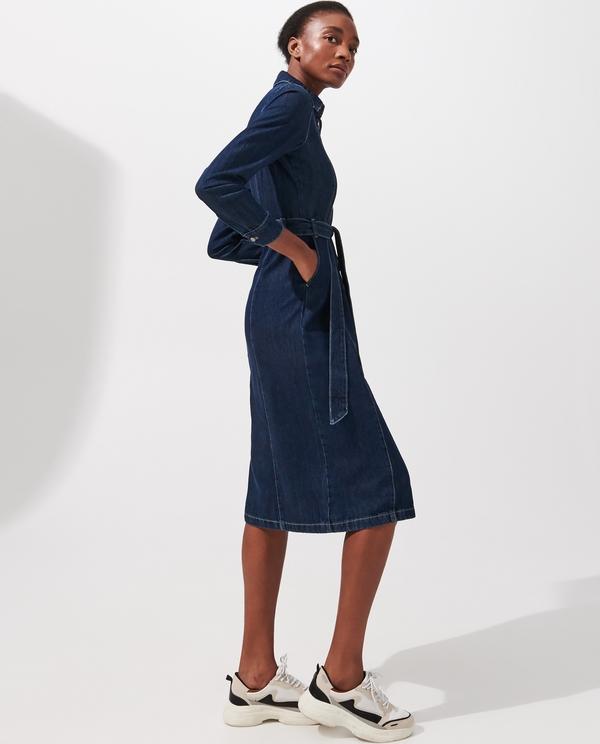 Granatowa sukienka Reserved z długim rękawem szmizjerka w stylu casual
