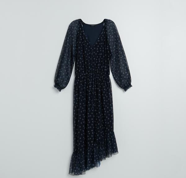 Granatowa sukienka Reserved z długim rękawem z okrągłym dekoltem