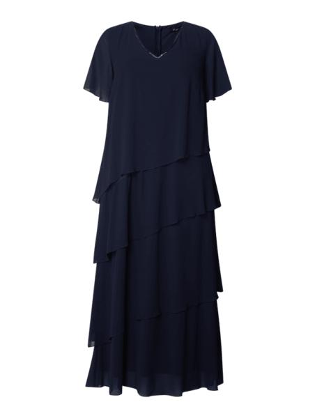 Granatowa sukienka Sheego z szyfonu maxi