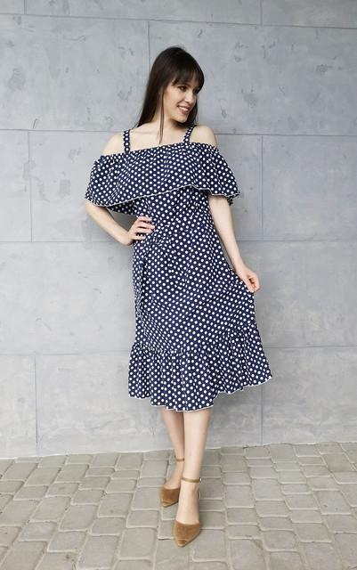 Granatowa sukienka Sklepfilloo midi hiszpanka z krótkim rękawem