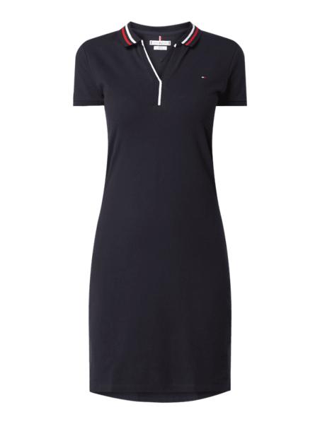 Granatowa sukienka Tommy Hilfiger z bawełny z krótkim rękawem