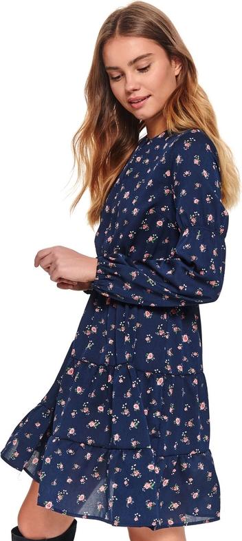 Granatowa sukienka Top Secret koszulowa z długim rękawem w stylu casual